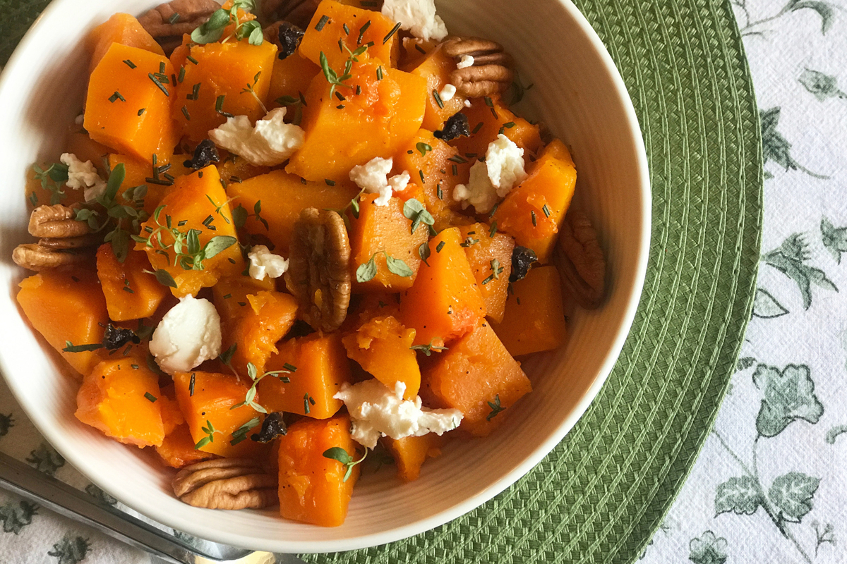 Butternut Squash With Herbed Pecans
