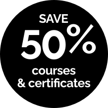 Save 50% on courses & certificates