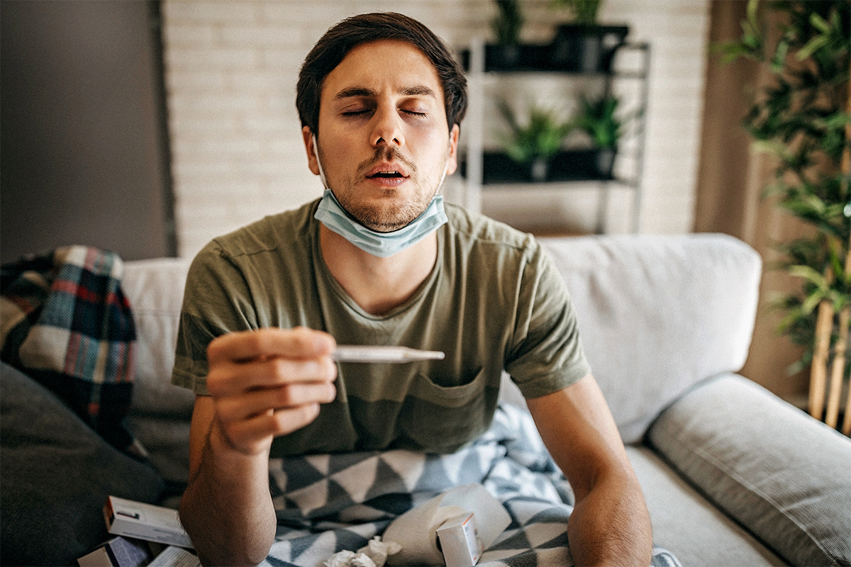 Man feeling sick and maybe showing early symptoms of infection