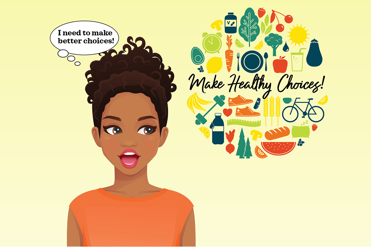 Graphic of a woman looking at nutrition advice