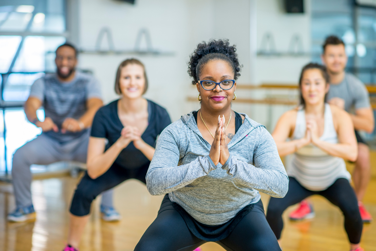 Diverse group in fitness class