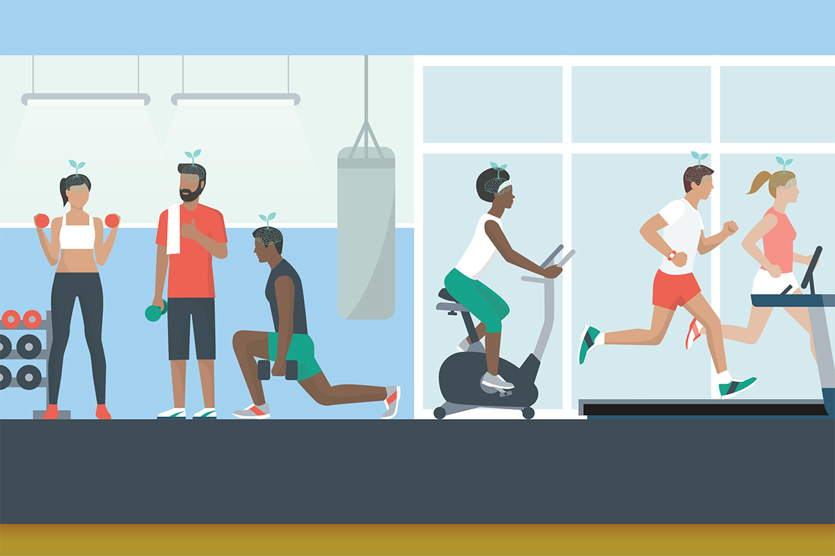 Graphic of many people exercising for brain fitness