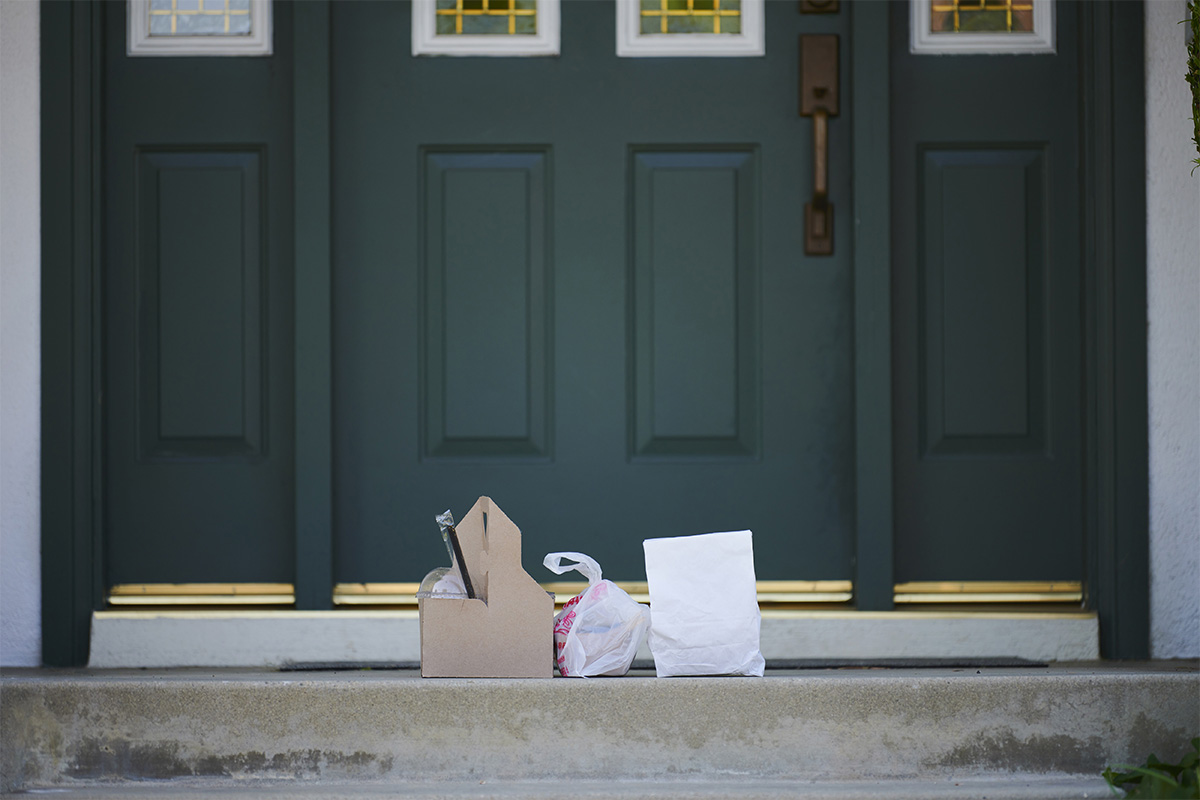 Takeout food in front of a door