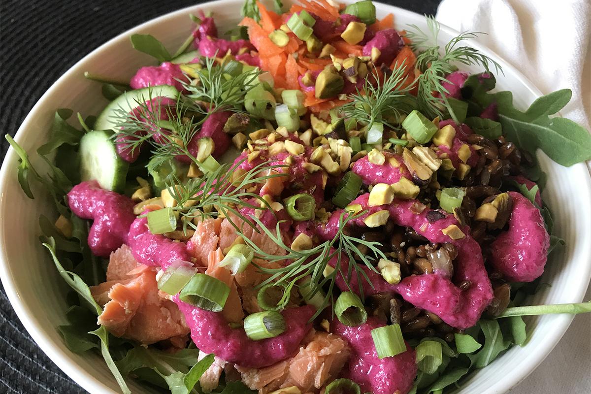 Rye Salmon Bowl With Beet Sauce