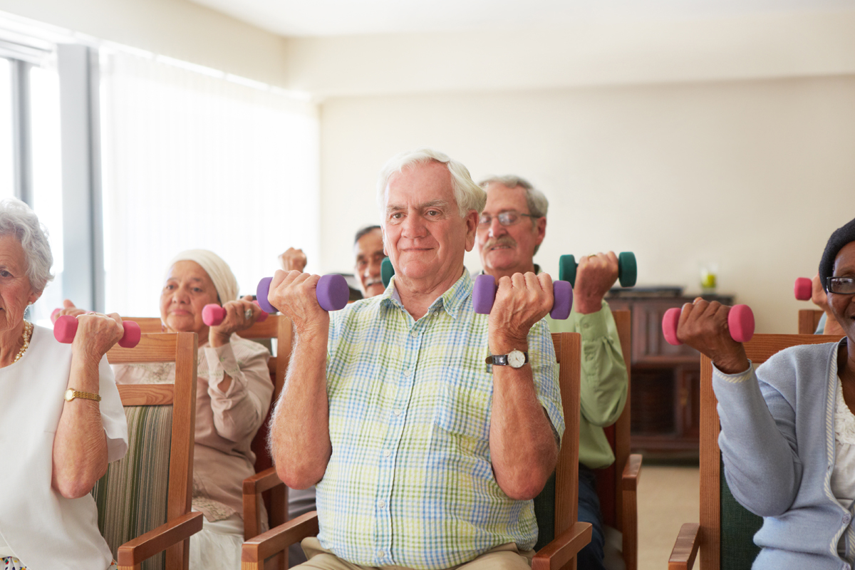 Seated chair based exercise class with older adults