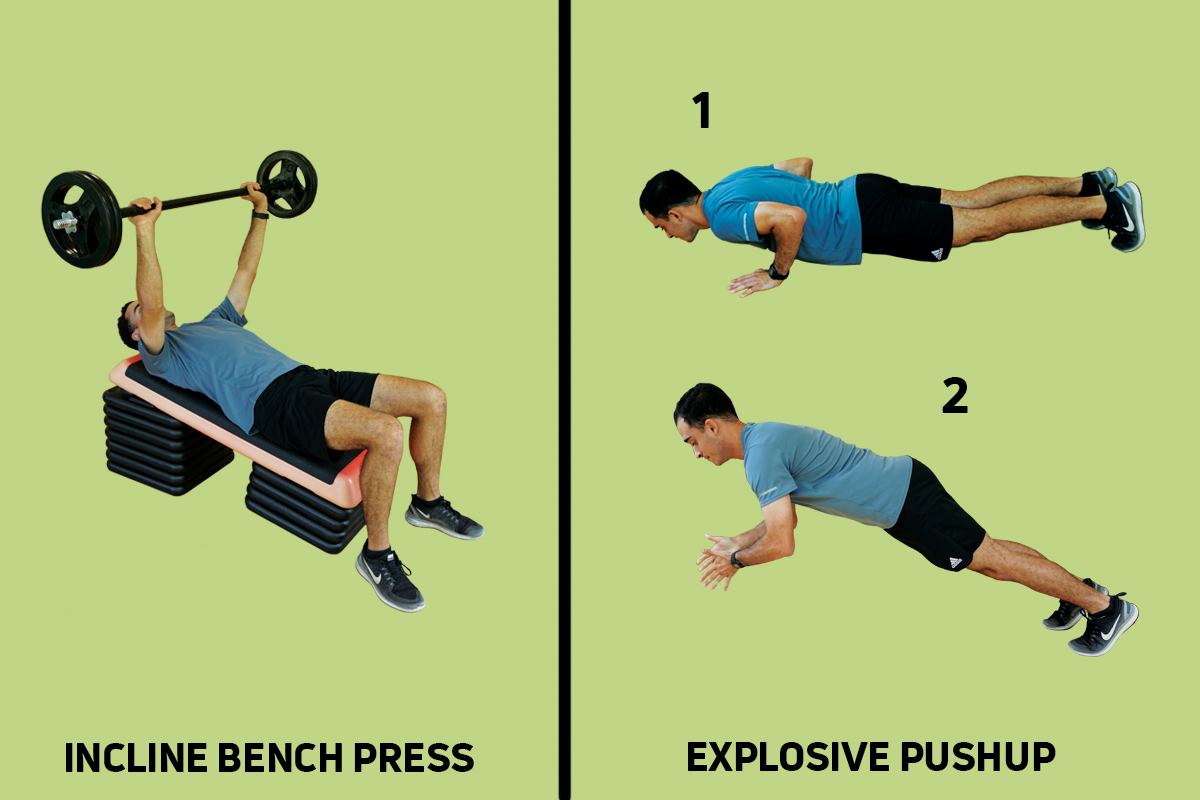 INCLINE BENCH PRESS + EXPLOSIVE PUSHUP